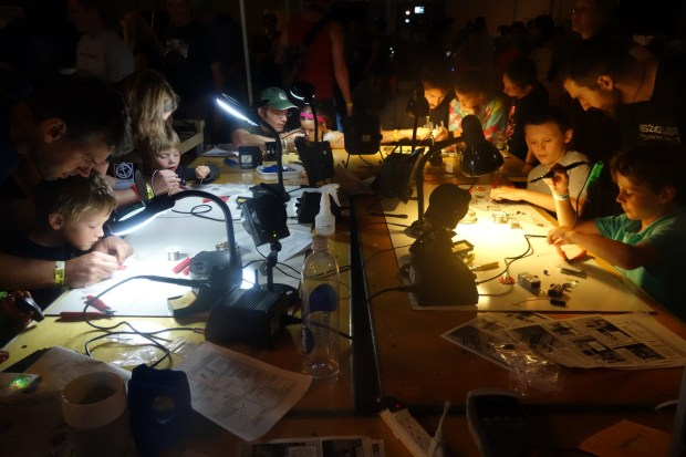 AS220 Labs hosted the Learn to Solder station, always a big hit with makers of all ages.