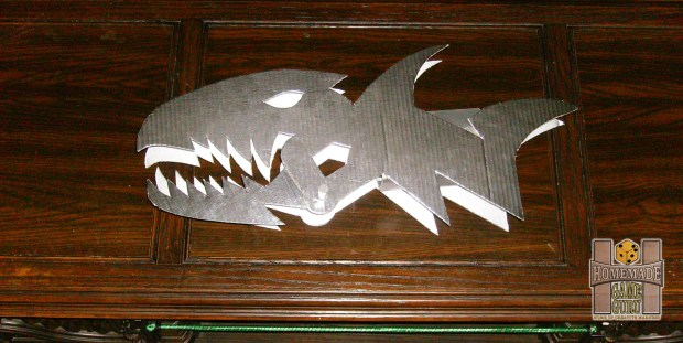 Hand-automated Cardboard Metallic Shark Sword