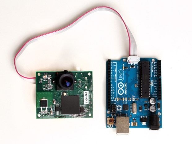 The Pixy camera board connected to an Arduino micro-controller board.
