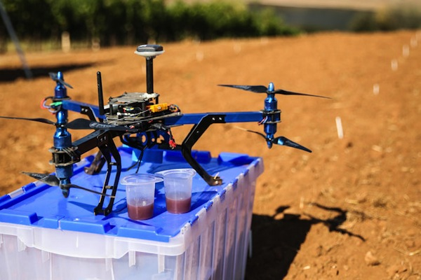 The 3D Robotics Y6 multicopter, which has been flying over vineyards in Northern California to monitor ripeness. Photo credit: Sally French, 3D Robotics.