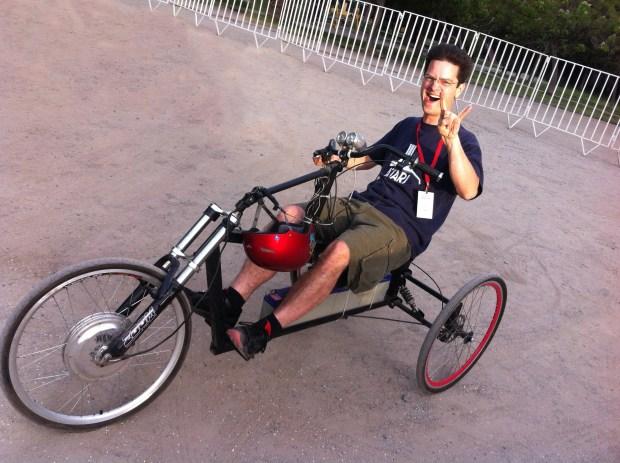 Tiburcio's badass electric trike.