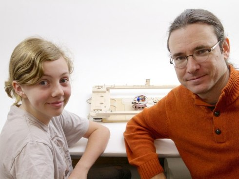 WatercolorBot's SuperAwesome Sylvia and Windell Oskay. Lenore Edman, not pictured. Photo courtesy of Evil Mad Scientist.
