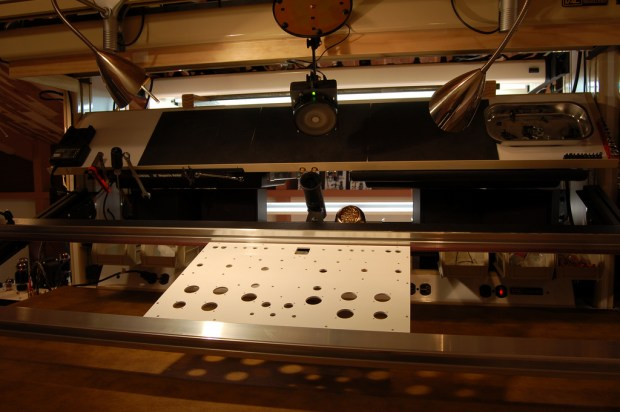 Workbench where the Zen Torii MKIV is fabricated.