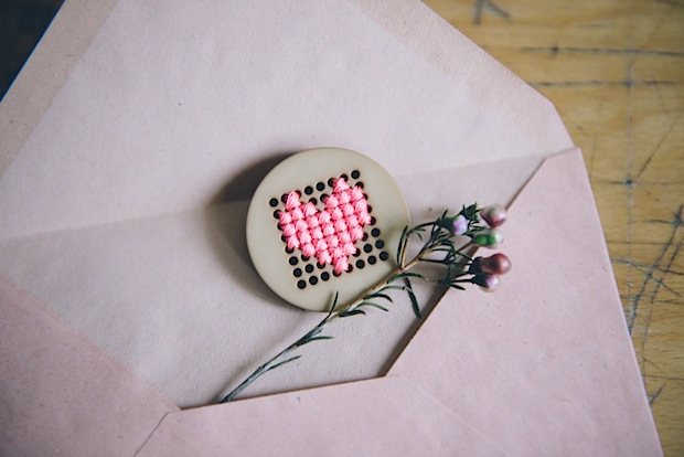 Valentine's Day Craft: Cross-Stitch Heart Pin