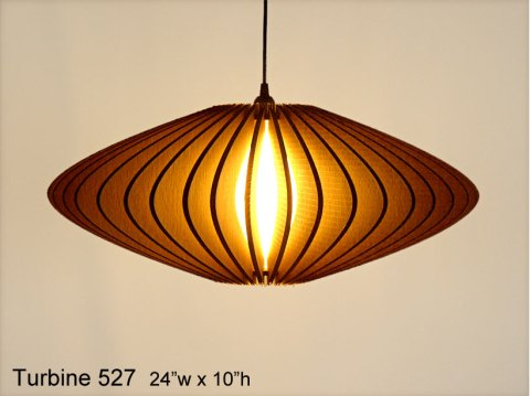 Pendant Lighting: Turbine 527 -- laser cut cardboard lamp