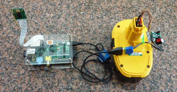 raspberry pi powered by 18-volt rechargeable drill battery