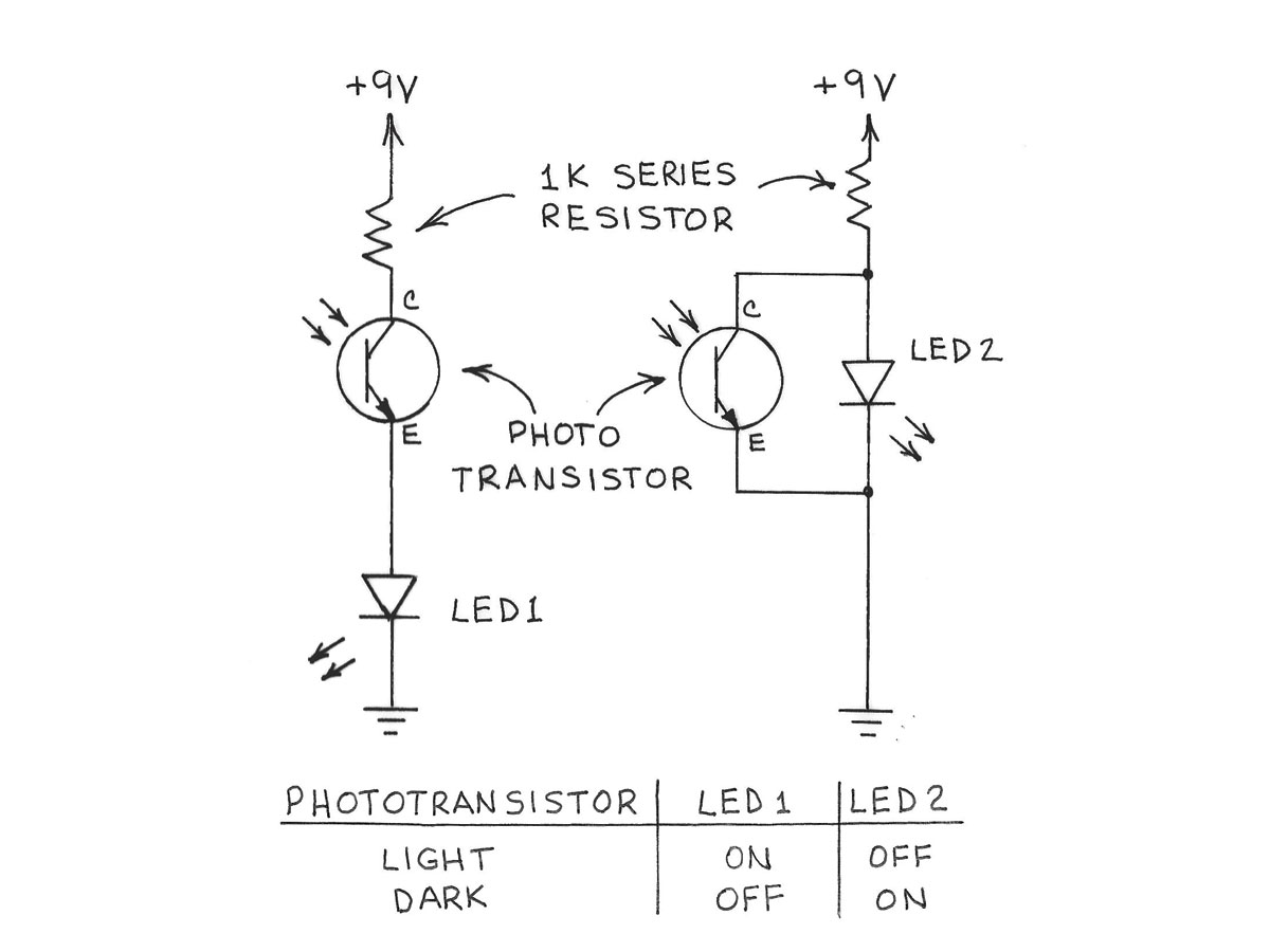 Amateur Scientist Experimenting With Light And Dark Sensors Make An Infrared Or Ir Sensor Detector Circuit Diagram Using 555 Ic Used Phototransistor