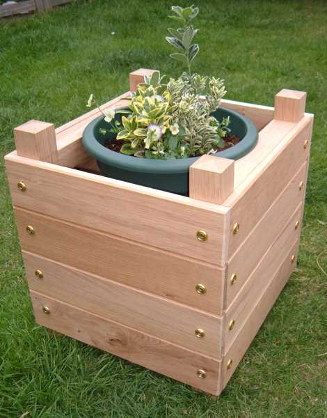 Wooden Planter with Plant Pot