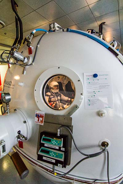 Cameron M. Smith of Pacific Spaceflight / Copenhagen Suborbitals in the Mark I 'Gagarin' Pressure Garment in the Copenhagen University Hospital Altitude Chamber. Photo: Jev Olsen, Copenhagen Suborbitals.