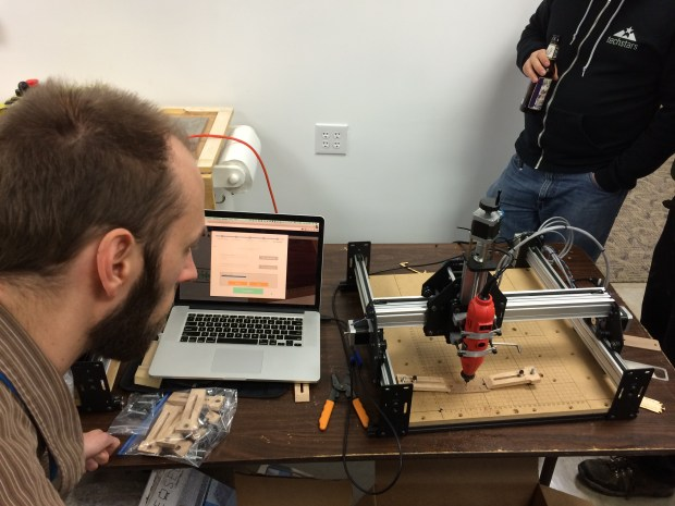 Engraving wood on the Shapeoko with Easel software at ATX Hackerspace.