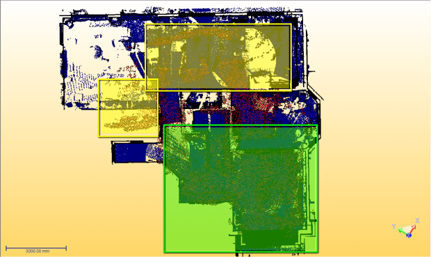 In the green area, Tango did actually pretty well. In the yellow areas, the data drifted.
