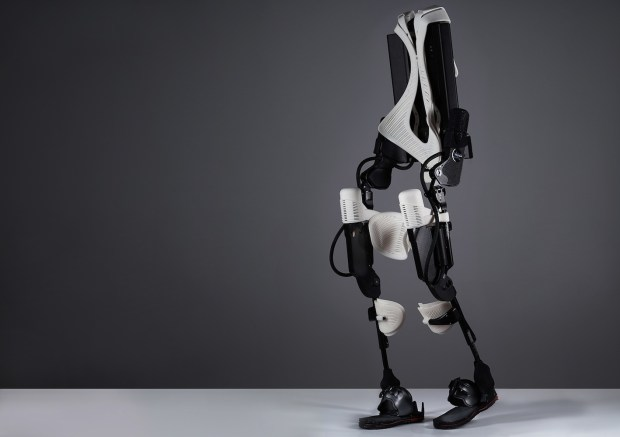Ekso exoskeletal suit with white 3D-printed prats.