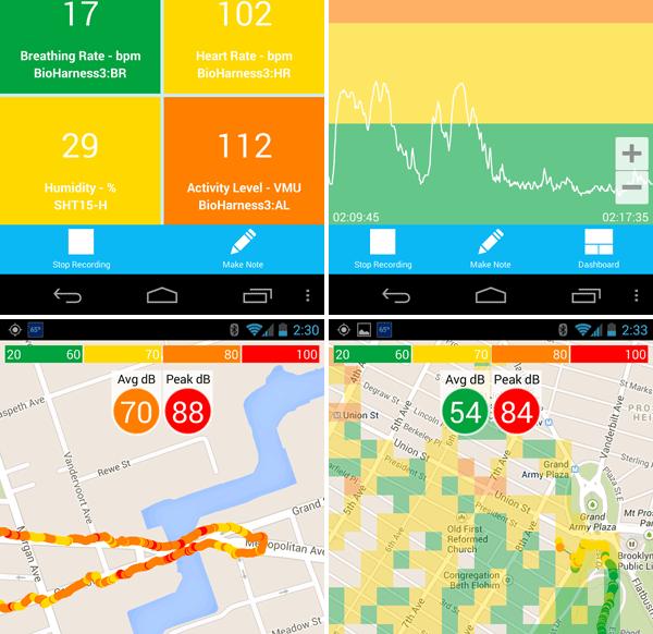 Screenshots of the AirCasting app