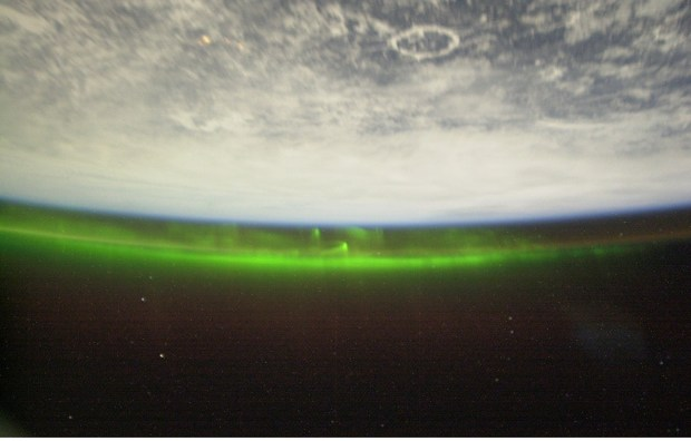 Low earth orbit view of an aurora (image ISS006E18372, courtesy of NASA)