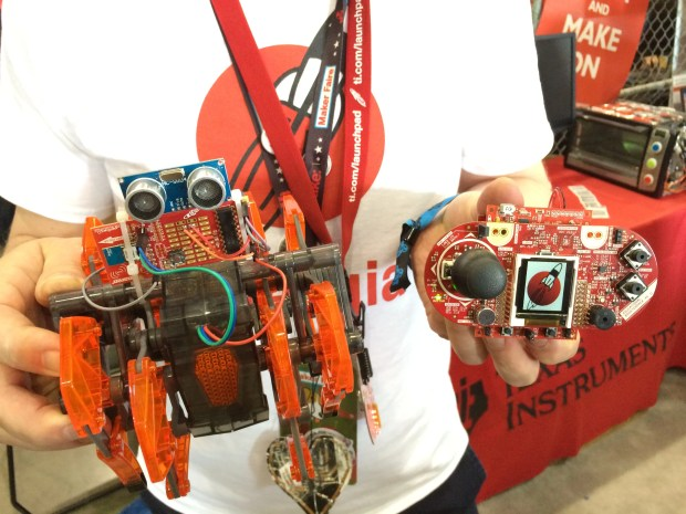 Robert Wessels with a hacked Hexbug and Launchpad-enabled remote control.