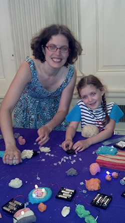 AnnMarie and Sage showing off Squishy Circuits at the White House today.