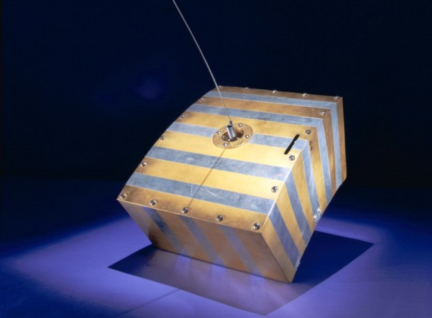 A scale model of the OSCAR 1 satellite—built by the members of Project OSCAR—housed at the National Air and Space Museum.