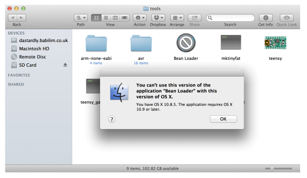 The Bean Loader application is compatible with OS X 10.9 'Mavericks' only.