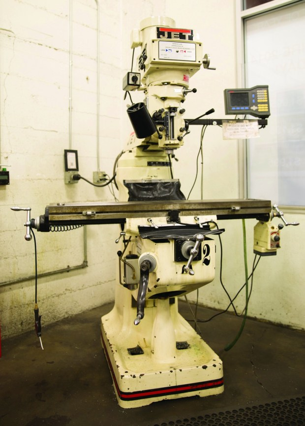 """9. The Jet variable speed, 3-horsepower vertical milling machine, equipped with a digital display, allows TechShop members to adjust the tool without using the mechanical dials. """"This would be a dream machine to have in your own home,"""" says Newton."""