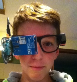 """Clay Haight with his DIY """"Google Glass""""."""