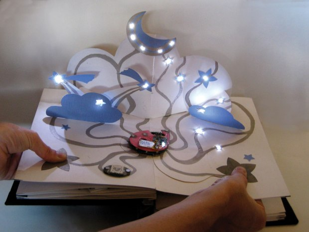 An example of artwork created with circuit stickers.