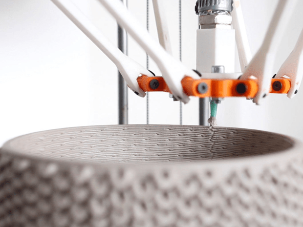 The 3D printer accentuates the 3D printing process by making striking woven designs and textures