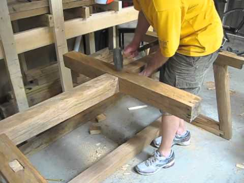 Chris's table was built using reclaimed wood and hand tools only