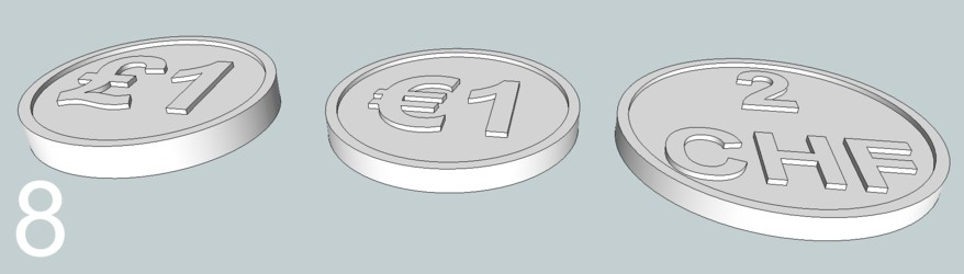 Tokens the same size as £1, €1 and 2 Swiss Franc coins for use in airport/railway baggage carts and supermarket trolleys which require a coin or a token which is returned when the trolley is returned. (The trouble with coins for this is that you spend 'em and don't have the right ones when you need 'em. You can't spend the tokens, and if you abandon them because the train will leave before you can return the cart it doesn't cost as much.)
