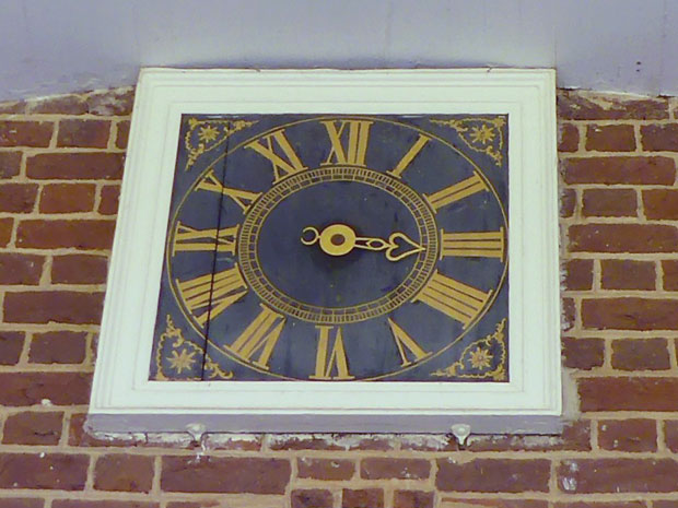 The outside dial of the Great Clock is over the entrance to the front portico.