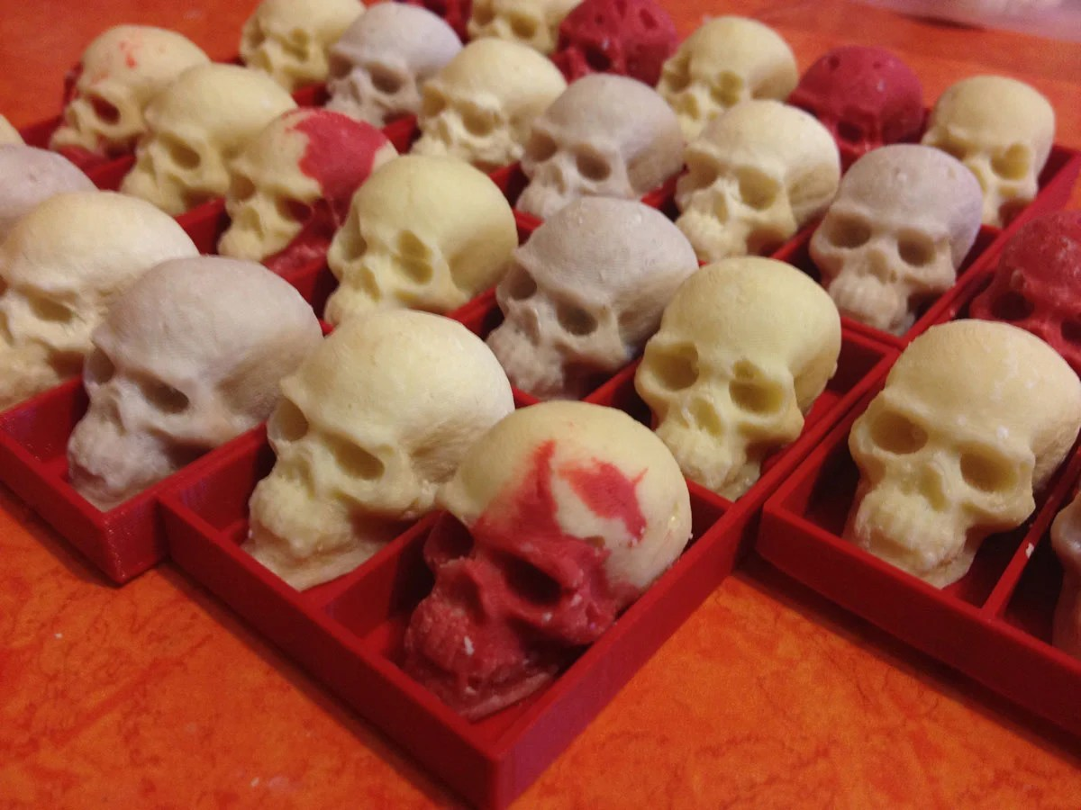 White Chocolate Skulls Cast in 3D Printed Molds