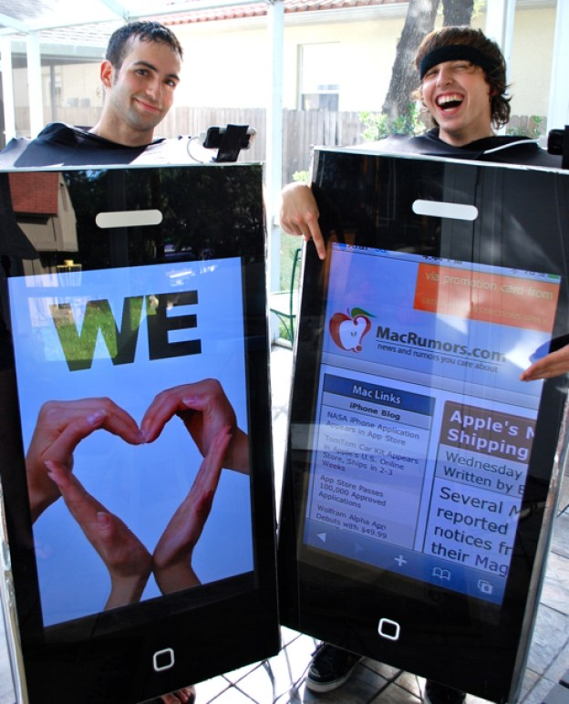 Reko Rivera and John Savio's Working iPhone Costumes use a 42-inch display powered by the iPhone.