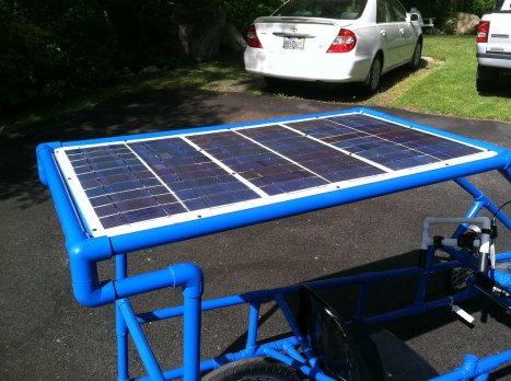 The solar panel array that gains energy from the sun on the Endurance EV.