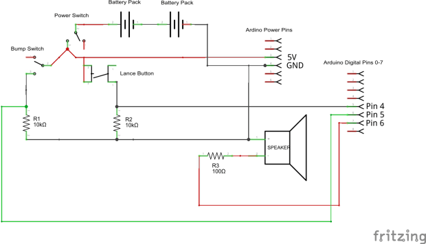 Here's the circuit schematic for the Joust-a-Bot.