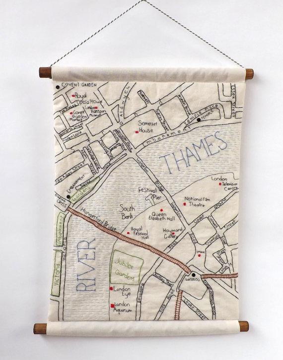 Map London Neighborhoods.Hand Embroidered Maps Of London Neighborhoods Make