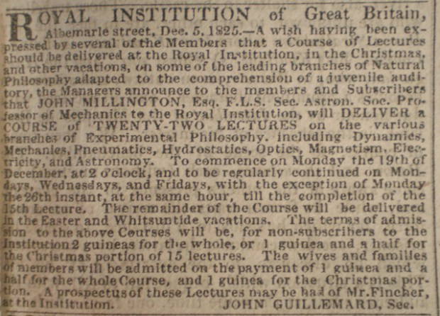 An advert in the Times for the very first Christmas Lectures in 1825.
