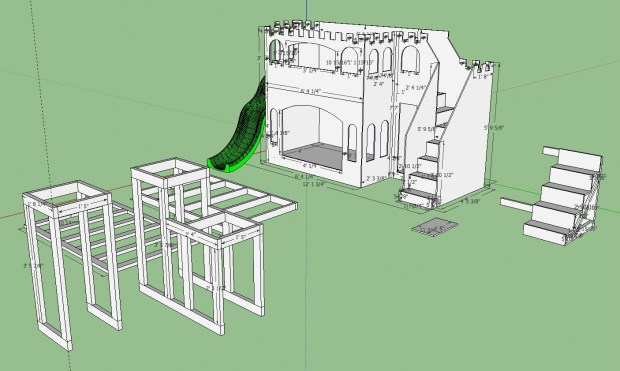 SketchUp mock of the castle bunk bed, complete with slide.