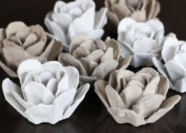 egg carton roses - all