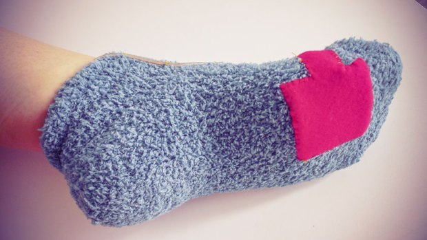 A pocket sewn onto the sock helps keep the FSR securely in place.