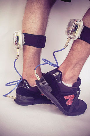 """""""Perform-o-shoes"""" by Andrew Schneider are music-controlling footwear that have a photocell embedded in the bottom of the heel; the higher the shoe is off the ground, the faster the music will play."""