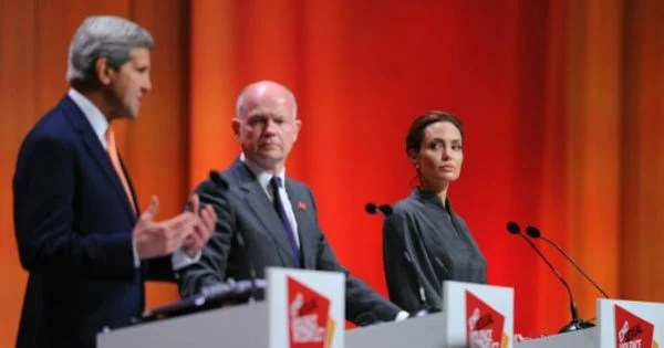 Angelina Jolie at the Global Summit to End Sexual Violence. (Source: Getty Images.)