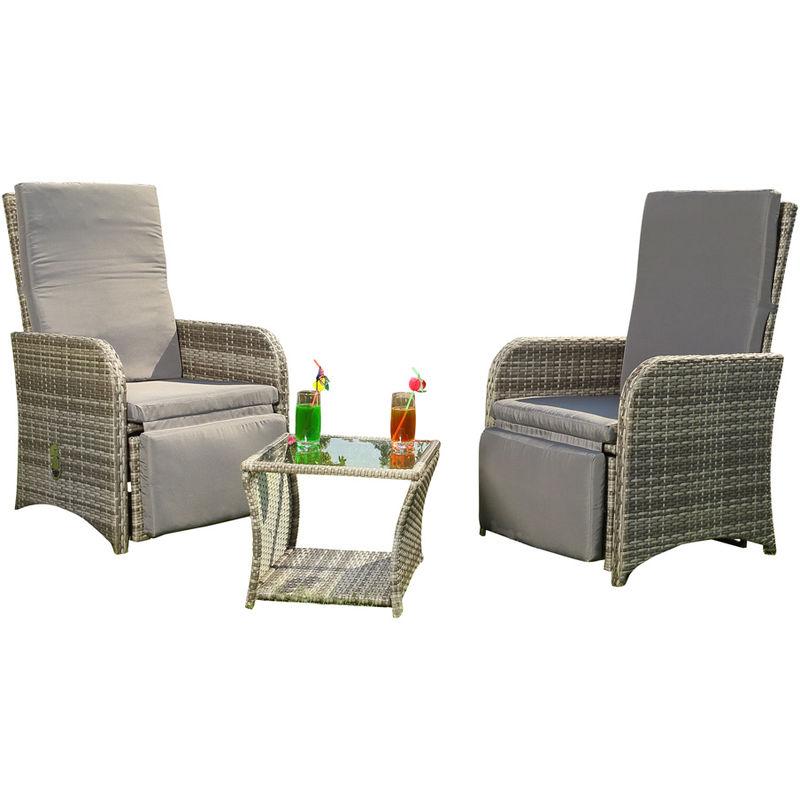 2 fauteuils table en poly rotin gris salon suite salon de jardin chaise de jardin