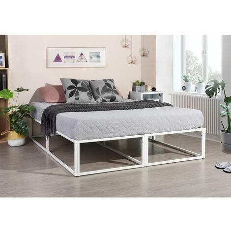 2214 lit futon cadre de lit double 200 150 cm avec sommier sans matelas blanc