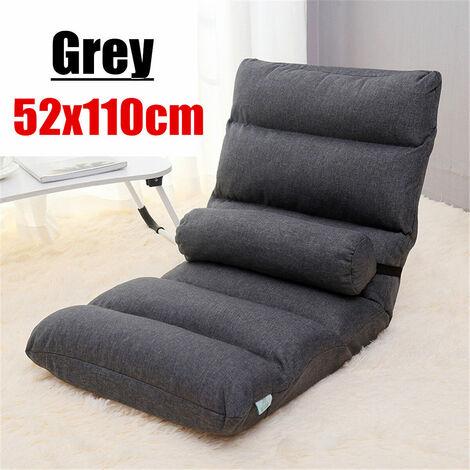 52x110cm canape paresseux pliant chaise de sol reglable canape chaises longues avec oreiller gris classique gris fonce 52x110 cm