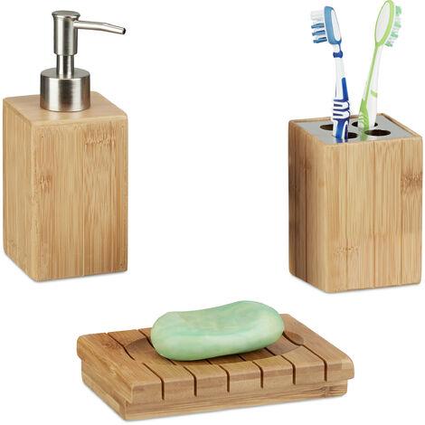 Accessoires Salle De Bain Bambou Set 3 Pieces Distributeur Savon Gobelet Brosse A Dent Porte Savon Nature 9100221769474