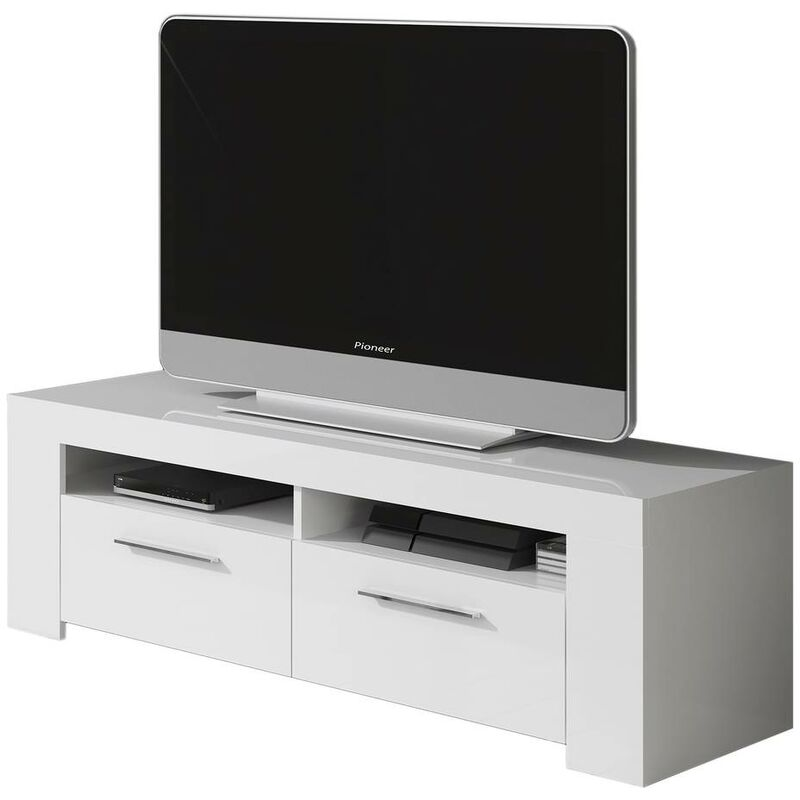 ambit meuble tv travis beton 2 portes style contemporain gris et blanc l 120 cm aucune
