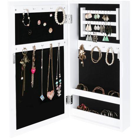 Armoire A Bijoux Accessoires Avec Miroir Murale Blanc 31x56x10 Cm Fermeture Magnetique Organiseur Rangement Avec Miroir 3011
