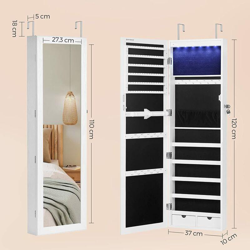 Armoire A Bijoux Armoire De Rangement Mural Armoire Accrochee A La Porte Avec Serrure Et Led Jbc93w