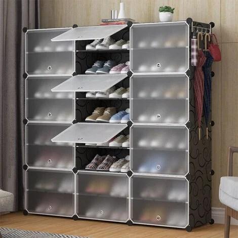 top ventes armoire a chaussures meuble a chaussures etagere avec portes plastique 24 cubes facile a monter etagere de rangement pratique