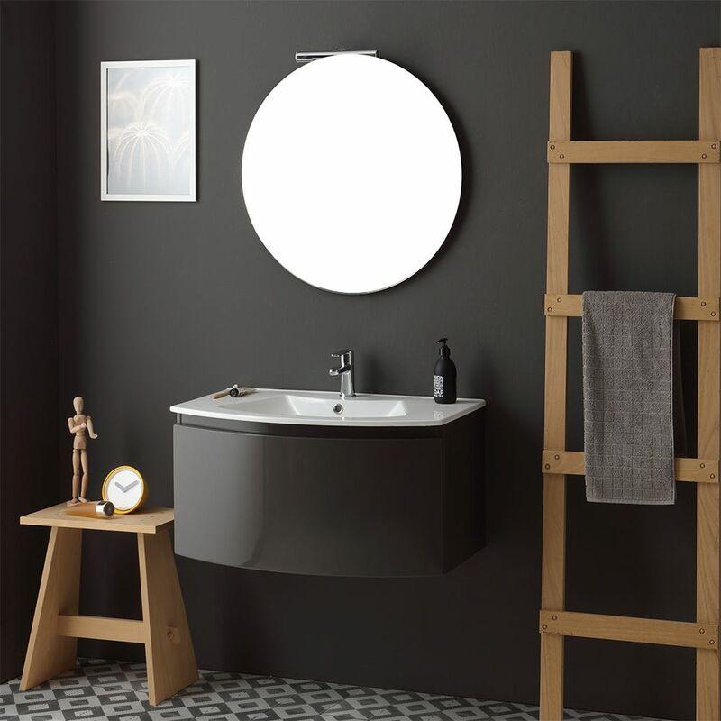 Armoire De Toilette Avec Vasque Murale Gris Anthracite Miroir Rond Riva 02010221212084