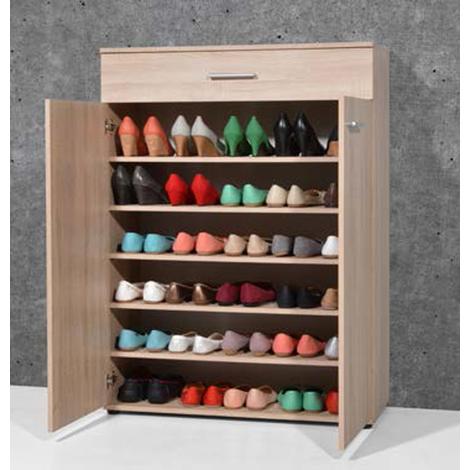 armoire meuble a chaussures chene sonoma avec 2 portes et 1 tiroir dim l 89 x h 120 x p 37 cm